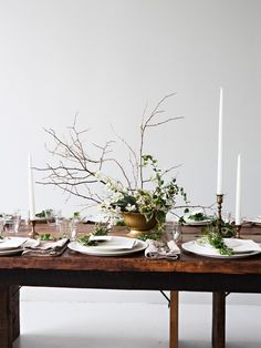 low, without tall sticks.  table setting