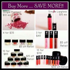 If you love Younique Makeup, then why not save money while you are buying your favorites. Younique's buy more, save more selection is amazing. Visit Http://3dlasheswithchrissynutter.com/ to order Younique makeup today! For chances to win FREE Younique Makeup and other cool prizes, get tips and DIY ideas visit my Facebook page, https://www.facebook.com/3Dlasheswithchrissynutter.