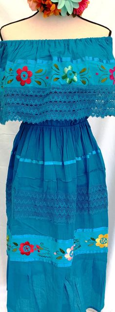51be6ebca1959 Mexican DRESS Embroidered Double Crocheted Turquoise Floral Design Peasant  Vintage Fits up XL Women s 100%