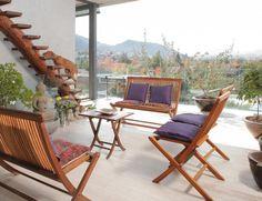 material piso y escalera madera terraza, casa Soplo, Cazú Zegers