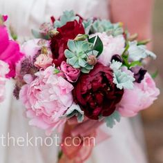 Gorgeous peonies in burgundy and soft pink made up Kirsten's bouquet. Succulents brought in the green and smaller blooms provided a bit of texture.