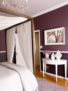 I like this plum color for the bathroom with a gray (with purple and green accents) in the bedroom