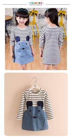 72ce7733cd Long Sleeve Cute Mouse Denim Dress