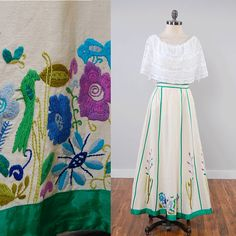Vintage 60s 70s embroidered cotton maxi skirt / bohemian