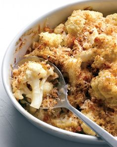 Cauliflower Gratin. People were lining up for this one! Add 1 cup of Gruyere cheese and use Panko flakes instead.