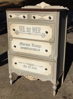 Loving this dresser with French text by Roz Robertson