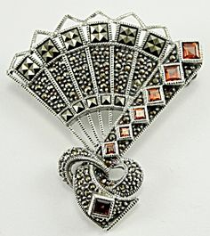 Sterling Silver Chinese Fan Pin Brooch Square & Round