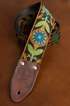 Orange/Green/Blue Floral VIntage-styled Guitar Strap (76.00 USD) by nowherebearstraps