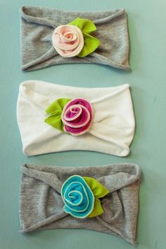 Headbands made from T-shirt sleeves.