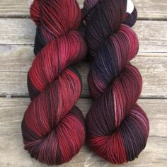 Gal Noir - Kaweah - Babette Smoky and sultry… we like to imagine Gal Noir as a dimly lit old-time lounge singer in a red velvet dress, surrounded by dark wood and swirling cigar smoke. While we call this a 'Repeatable Babette', Yarn Thread, Yarn Stash, Crochet Yarn, Knitting Yarn, Yarn Inspiration, Spinning Yarn, Hand Dyed Yarn, Yarn Colors, Wool Yarn