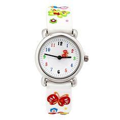 cool ELEOPTION Waterproof 3D Cute Cartoon Digital Silicone Wristwatches Time Teacher Gift for Little Girls Boy Kids Children (White Butterfly)