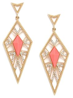 Amazing gold, coral and crystal earrings