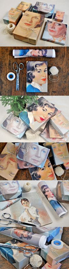 I heart this! Vintage portraits as wrapping paper. The presents are too nice to part with!