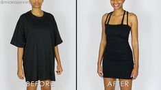 A little black dress is a closet staple for many, but no need to go out and purchase something when you can make one yourself! Here's how to transform a basic, oversized men's t-shirt into a sexy, strappy, little black dress with some easy sewing. Step 1: Gather Materials What you'll need: Oversized black t-shirt Sewing machine Fabric scissors Sewing clips (or pins) *Miaira is a participant in the Amazon Services LLC Associates Program, an affiliate advertising program d… Shirt Refashion, T Shirt Diy, Oversized Black T Shirt, Turtleneck T Shirt, Black Turtleneck, Diy Clothes, Refashioned Clothes, Upcycled Clothing, Old T Shirts