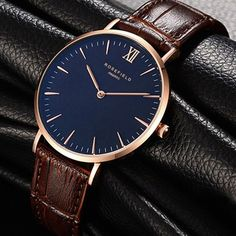 Mens Watches Leather, Leather Men, Watches For Men, Fashion 2017, Fashion Brand, Mens Rose Gold Watch, Rolex, Business Casual, Luxury Branding