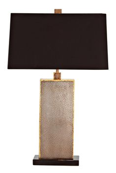 """Graham Natural Iron Brass and Marble Table Lamp - 28"""" high.  Rectangle shade is 17"""" wide, 8"""" deep."""