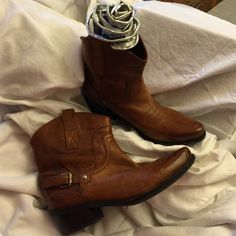 One Time Worn Boots These precious, Franco Sarto booties are one wear from brand new! Short, stacked heel just shy of two inches. Supple, caramel colored leather. Excellent condition. Franco Sarto Shoes Ankle Boots & Booties