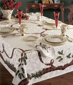 This holiday Nouveau Jacquard print table linen by Lenox brings warmth and luxury to your home for the holidays. This table cloth is made of cotton and polyester and is safe to wash in the washing machine. Christmas Table Cloth, Christmas Table Settings, Christmas Tablescapes, Christmas Table Decorations, Decoration Table, Holiday Decor, Winter Decorations, Dining Decor, Christmas Candles