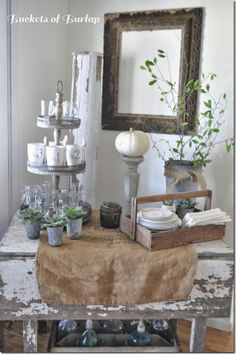 Burlap bag table runner... chippy whites... galvanized ... sets a gorgeous vintage table for entertaining!