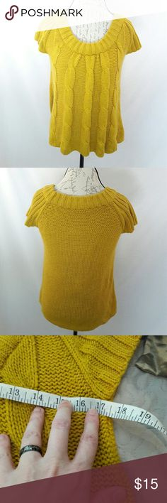 Cable knit sweater by It's Our Time This mustard yellow sweater is so cute! It is very soft. It is sleeveless and has a scoop neck. Gorgeous! Measurements provided in pics above. From a smoke and pet free home. Fast shipping. Office- warm - Wedding - Fun - Dress up- date night - cruise - fall - winter 💜 IF YOU LIKE MY ITEMS, please FOLLOW ME to see NEW ARRIVALS that are added weekly! 💜 It's Our Time Sweaters Crew & Scoop Necks