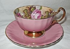 English Bone China: Aynsley & Sons Pattern 1031 D Fine Bone English China Tea Cup and Saucer Antique Tea Cups, Vintage Cups, Cup And Saucer Set, Tea Cup Saucer, Pink Coffee Cups, Silver Tea Set, English China, English Cup, Bone China Tea Cups