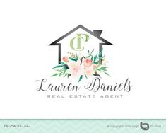 Premade Real Estate Company Logo - Real Estate Agency - Real Estate Logo - House Logo - Realtor Logo - Fancy Logo - Your Initials - Flowers ♥ Logo Description ♥ ( Lauren Daniels Real Estate Agent ) Lovely Illustrated logo of a House with Flowers Real Estate Business Cards, Real Estate Logo, Real Estate Leads, Real Estate Agency, Real Estate Companies, Real Estate Marketing, Logo Real, Sell Your House Fast, Flower Logo