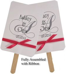Personalized Wedding Favor Fans - Monogram (Fans in 11 Colors w/Ribbon)