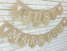 Just Married Wedding banner, rustic wedding banner,just married ...