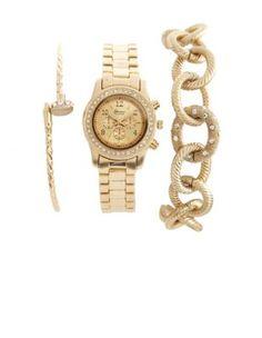 metallic watch & bracelet 3-piece set