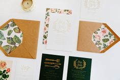 Floral Calligraphy Romantic Wedding Invitations