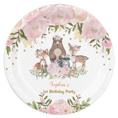 Shop Girl Woodland Animals Pink Floral Forest Birthday Paper Plate created by BlueBunnyStudio. Baby Girl Shower Themes, Baby Shower Decorations, 1st Birthday Party For Girls, Woodland Animals, Woodland Theme, Woodland Baby, Pink, Confetti, Ideas