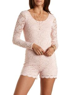 45a3cf30282 Long Sleeve Lace Romper by Charlotte Russe - Light Pink