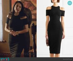 Camila's black cold shoulder dress on Queen of the South South Fashion, Queen Of The South, Black Cold Shoulder Dress, Fashion Outfits, Style Fashion, Fashion Styles, Night Out Outfit, Fashion Night, Camila