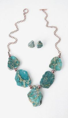Chunky Genuine Green Turquoise Statement Necklace and Earrings Se