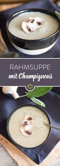 When it gets cold outside: Creamy mushroom cream soup - low carb / leckere Rezepte - Raw Food Quick Soup Recipes, Beef Soup Recipes, Fall Soup Recipes, Quick And Easy Soup, Shrimp Recipes, Cooking Recipes, Slow Cooker Soup Vegetarian, Vegan Soup, Mushroom Cream Soup