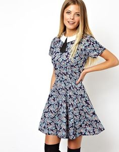 Image 1 ofASOS Skater Dress With Contrast Collar In Floral