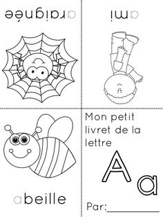 foldable French alphabet coloring booklets -- each sheet consists of the letter… Study French, Learn French, French Teacher, Teaching French, Letter Activities, Teaching Activities, Math Gs, French Alphabet, French Classroom