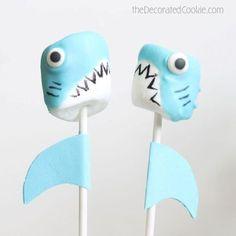 Mermaid Birthday party ideas: DIY Decor food ideas. Shark marshmallow pops