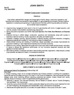 click here to download this oilfield construction consultant resume template httpwww - Oilfield Resume Samples