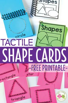 Use these free printable shape cards to teach 2-D shapes to preschoolers. Use them for tracing or create tactile shape cards for finger tracing... a great hands-on sensory activity. Kids will have fun learning shapes with these fun cards. Perfect for your math center in preschool, pre-k, and kindergarten. Use in small group and independent activities. Download the free printables today for your shape activities. #preschool #preschoolmath #sensory Shape Activities Kindergarten, Tactile Activities, Pre K Activities, Preschool Learning, In Kindergarten, Fun Learning, Preschool Shapes, Early Learning, Visually Impaired Activities