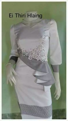Lace Dress Styles, Sleeves Designs For Dresses, Dress Neck Designs, Elegant Dresses, Pretty Dresses, Casual Dresses, Myanmar Traditional Dress, Traditional Dresses, Myanmar Dress Design