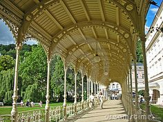 This is Sadova kolonada (Garden colonnade) in Karlovy Vary, Czech republic. Next to it, there's the Dvorak garden.