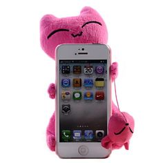 3D Cut Cartoon Fluffy Cloth Cat Case Cover For iPhone 5 5S