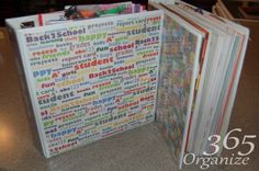 Great idea to organize your kids prior years of schoolwork! www.organize365.com