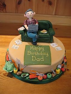 Personalised birthday cake - this was the spitting image of the dad in question - right Image Birthday Cake, Dad Birthday Cakes, Birthday Ideas, Dad Cake, 50th Cake, Cakes For Men, Just Cakes, Cake Pops, Kitty Litter Cake