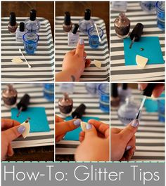 gradient how-to: using a makeup sponge helps dab the polish on more evenly, add more on the tips for that gradient effect