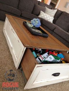 Rustic DIY coffee table with a hidden drawer, http://hative.com/clever-hidden-storage-ideas/