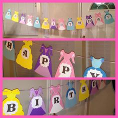 Set of 2 Princess dress birthday banner by Hdoodle on Etsy