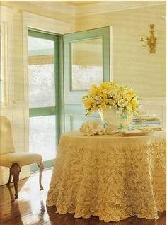 Lovely room - the soft, butter yellows are warm and cheerful - and a little pale mint green is a perfect companion color...