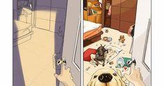 Ilustrador de Taiwan criou uma série de ilustrações mostrando a diferença de de ter ou não animais de estimação.  Imagine seus moveis e obje...